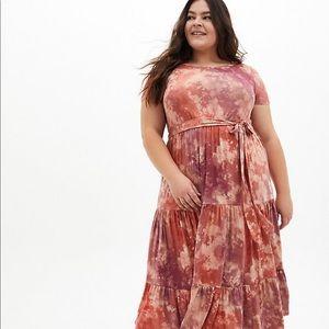 Nwt Torrid Pink Tie Dye super soft Skater Dress